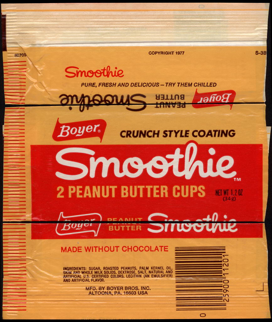 Boyer - Smothie - 2 Peanut Butter Cups - candy wrapper - 1977