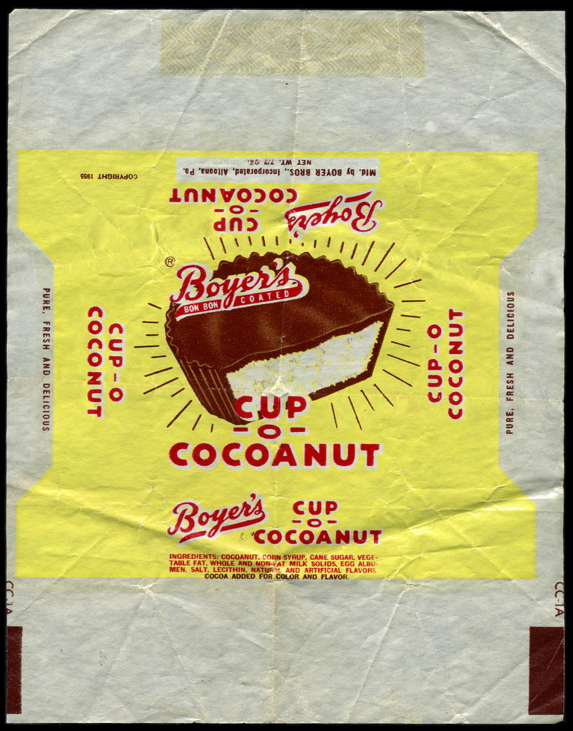 Boyer's - Cup-O-Cocoanut - candy wrapper - circa 1955-1960