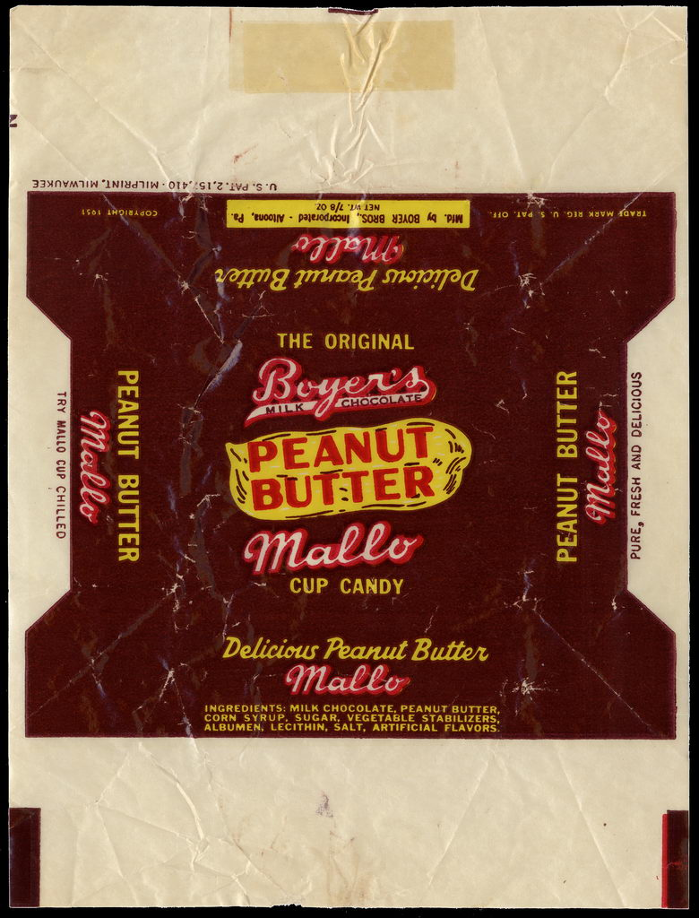 Boyer's - Peanut Butter Mallo - cup candy bar wrapper - 1951