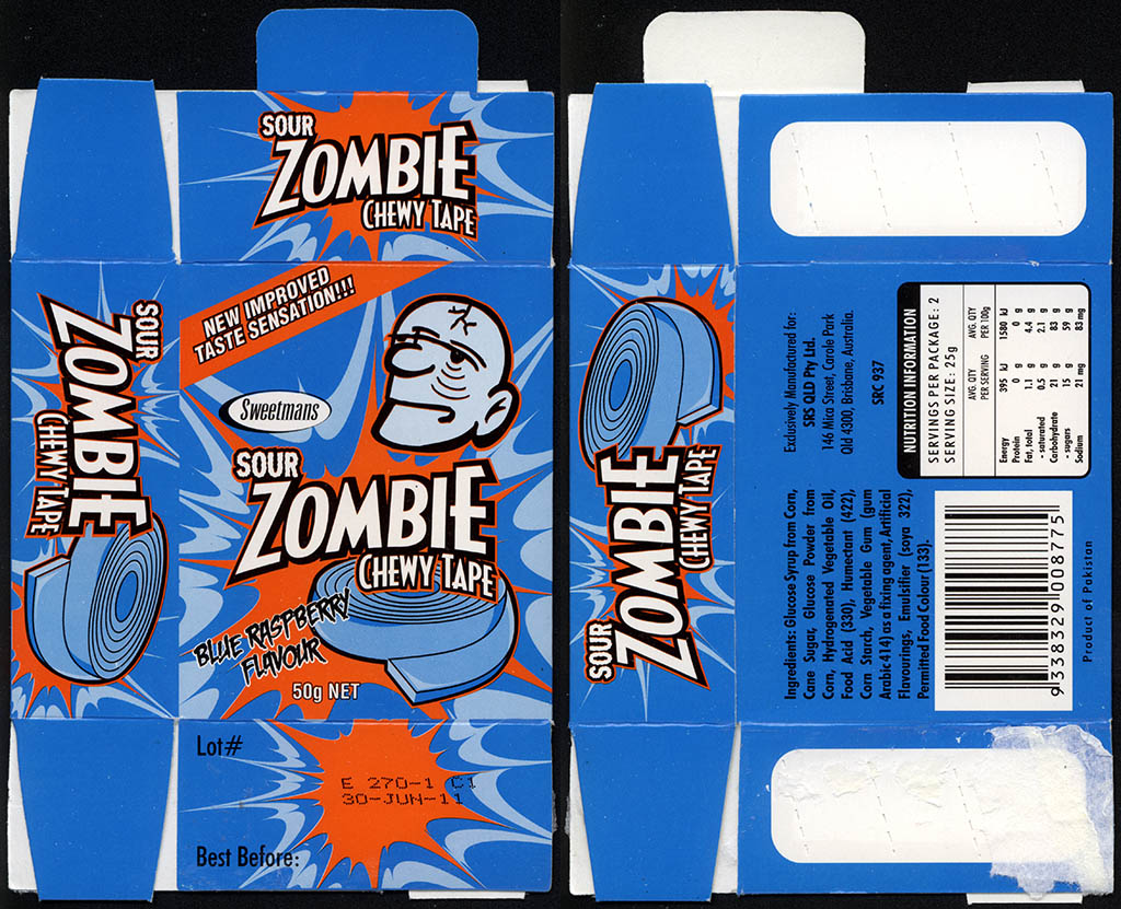 Australia - Sweetmans - Sour Zombie Chewy Tape - Blue Raspberry - candy box - 2011