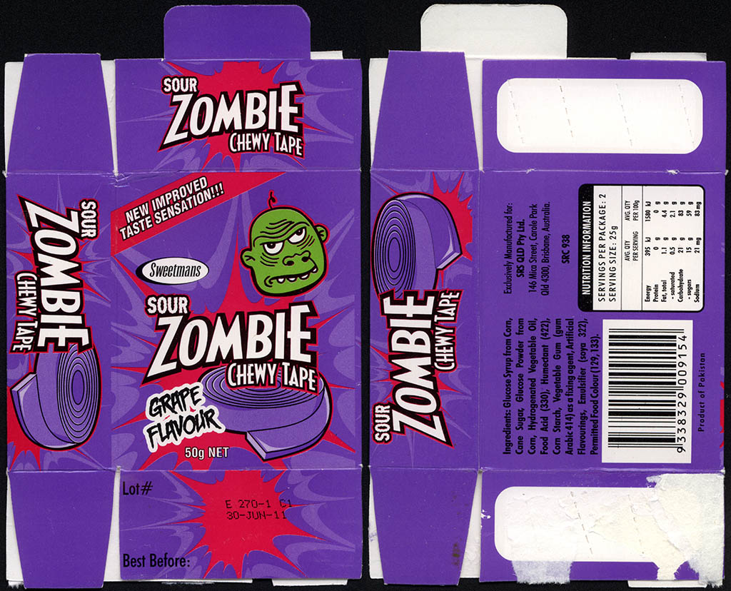 Australia - Sweetmans - Sour Zombie Chewy Tape - Grape - candy box - 2011