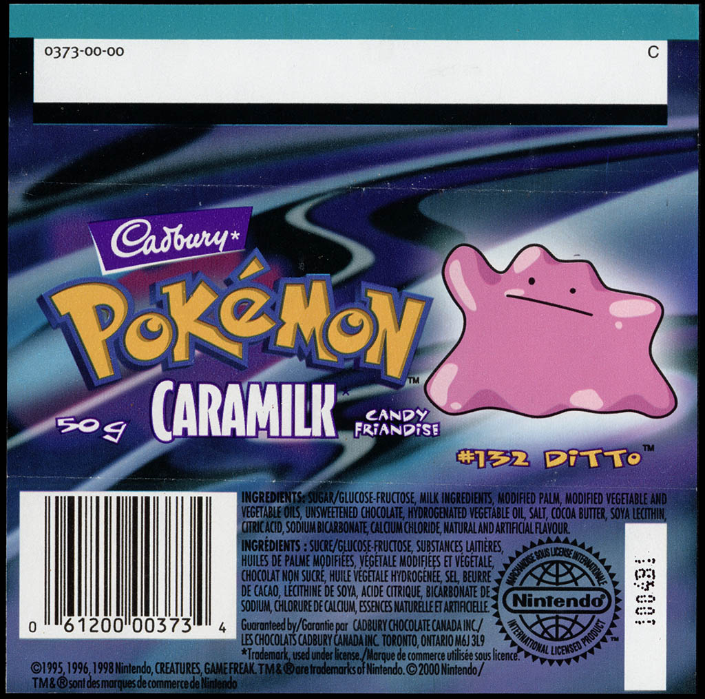 Canada - Cadbury Caramilk - Pokemon - Ditto #132 - chocolate candy wrapper back - 2000