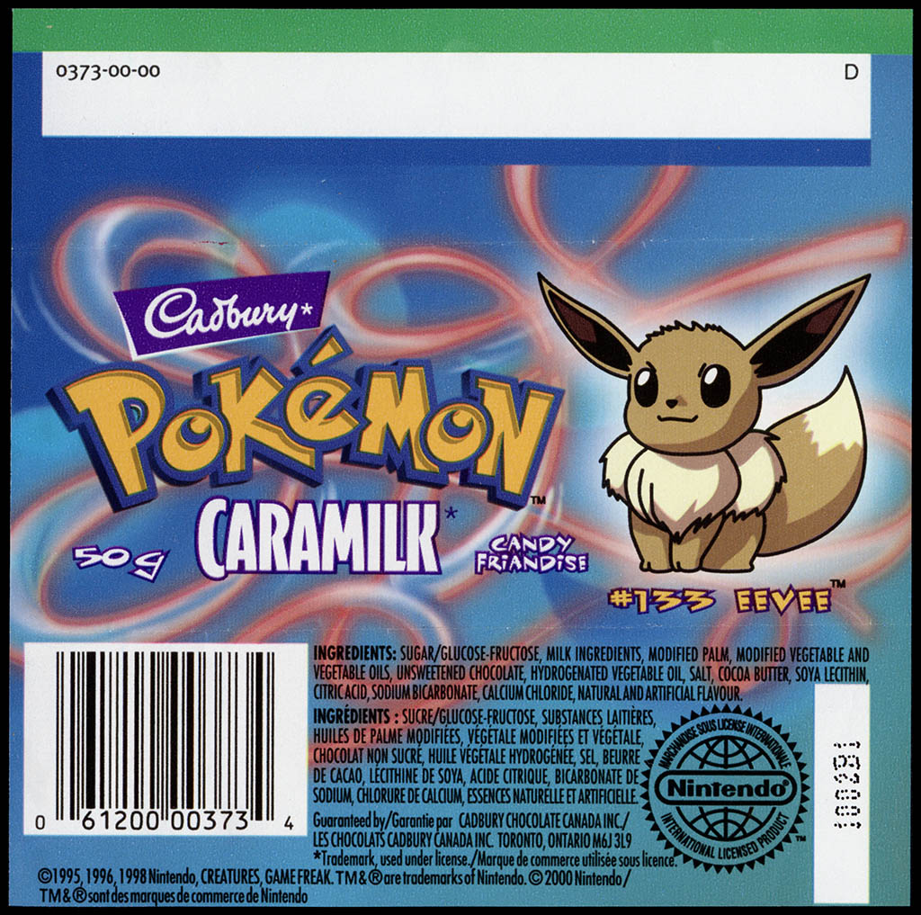 Canada - Cadbury Caramilk - Pokemon - Eevee #133 - chocolate candy wrapper back - 2000