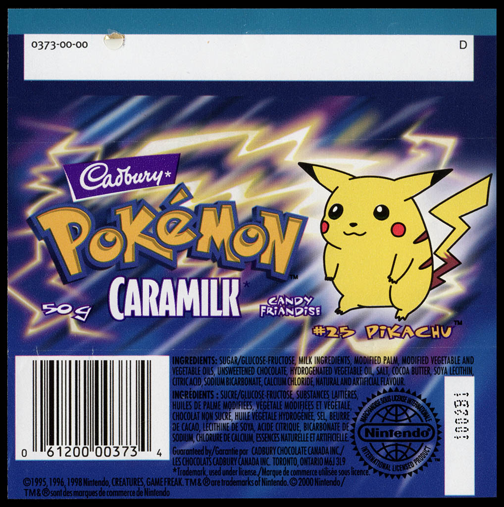 Canada - Cadbury Caramilk - Pokemon - Pikachu #25 - chocolate candy wrapper back - 2000