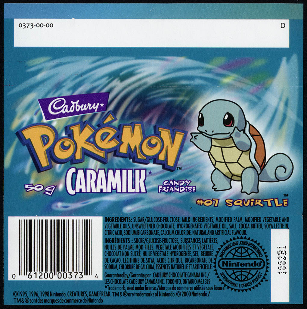 Canada - Cadbury Caramilk - Pokemon - Squirtle #07 - chocolate candy wrapper back - 2000
