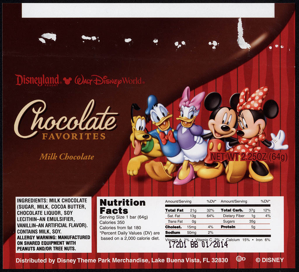 Disney Theme Parks - Milk Chocolate - souvenir candy bar wrapper - 2012