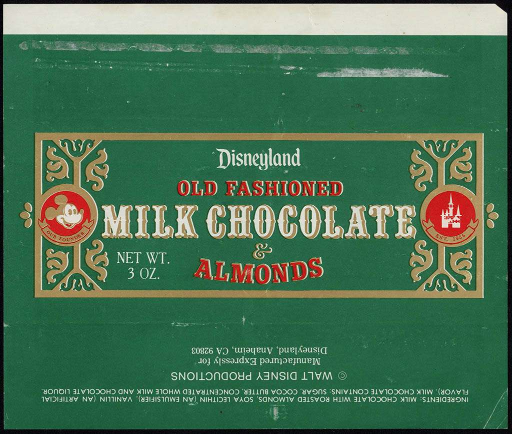 Disneyland - Old Fashioned Milk Chocolate & Almonds - souvenir chocolate candy bar wrapper - 1970's