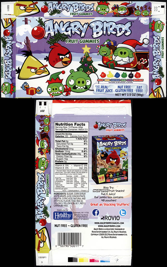 Healthy Food Brands - Angry Birds Christmas - Fruit Gummies - candy box - December 2012