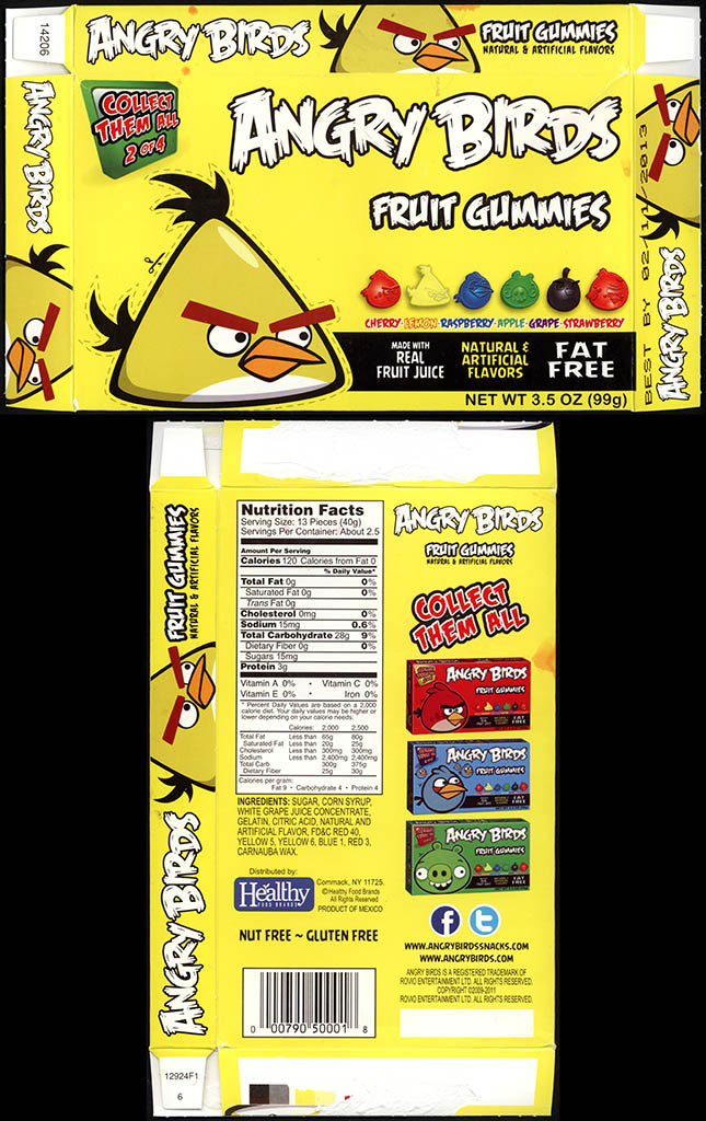 Healthy Food Brands - Angry Birds - Fruit Gummies - 2 of 4 - Yellow Bird - candy box - 2011