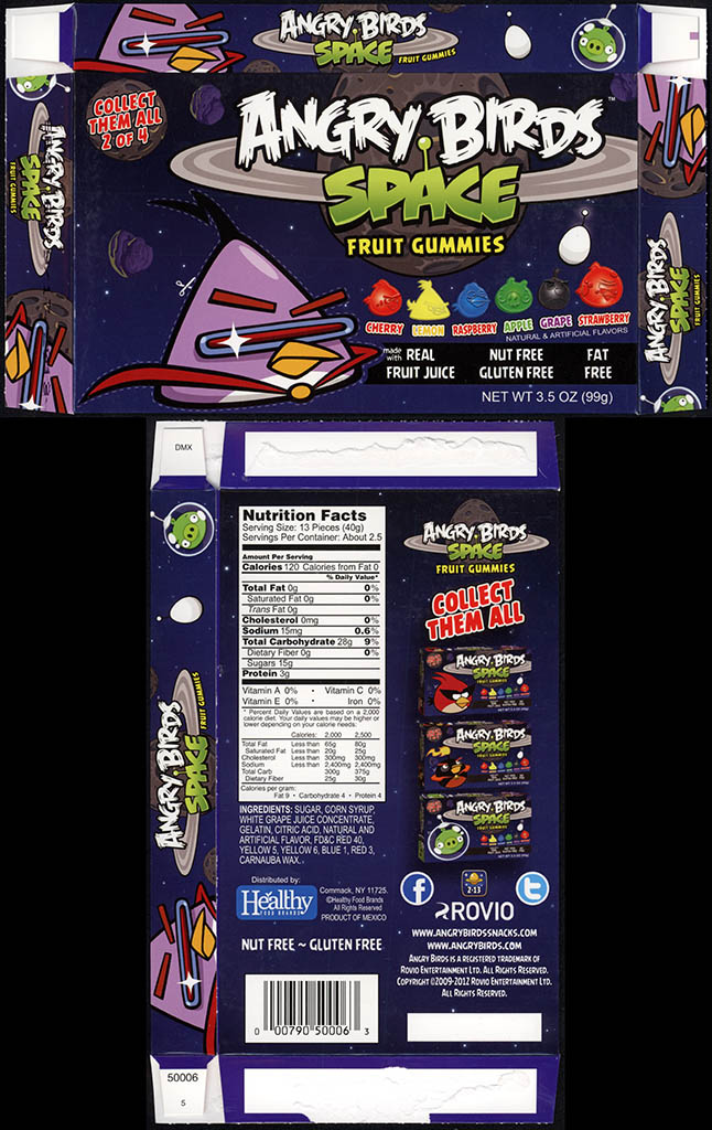 Healthy Food Brands - Angry Birds Space - Fruit Gummies - 2 of 4 - Purple Bird - candy box - 2012