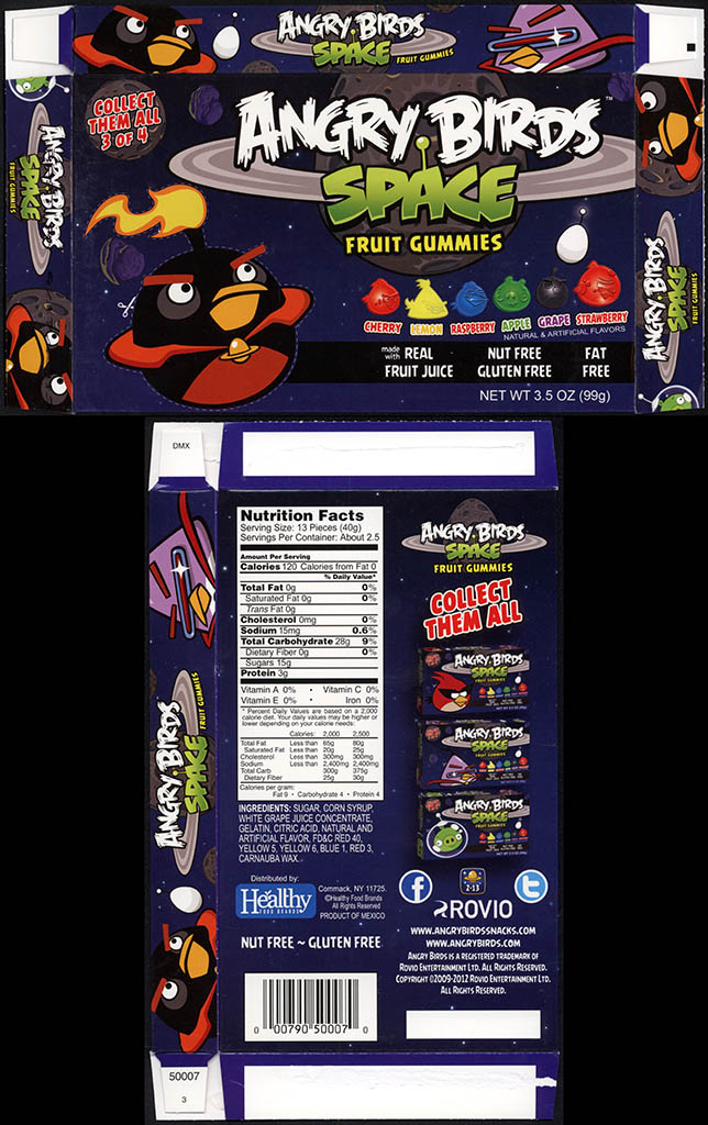 Healthy Food Brands - Angry Birds Space - Fruit Gummies - 3 of 4 - Bomb Bird - candy box - 2012