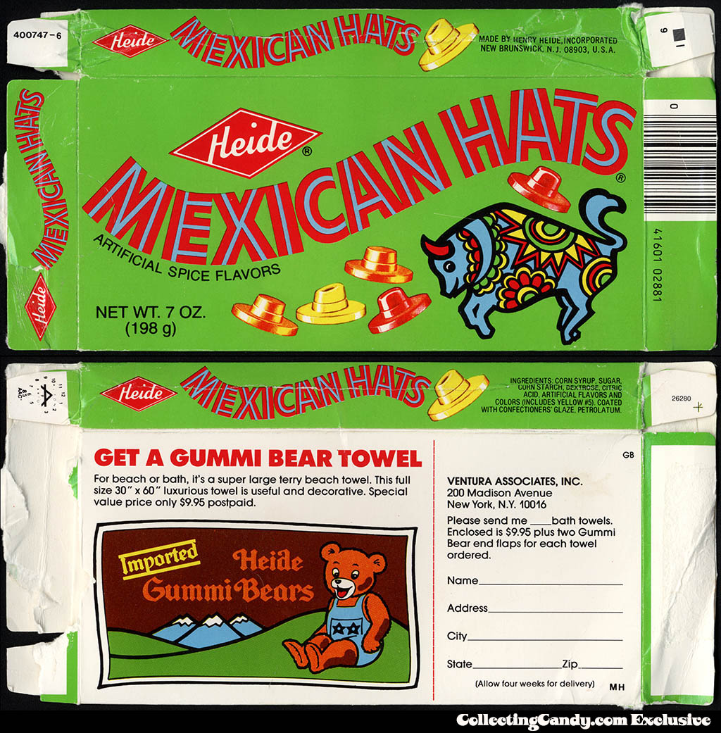 Heide - Mexican Hats - 7oz candy box - Gummi Bear beach towel mail-away - 1985