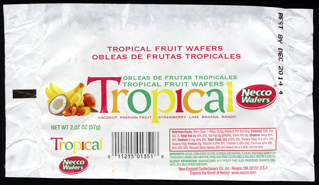 Necco - Necco Wafers Tropical Fruit flavors - candy roll wrapper - January 2013