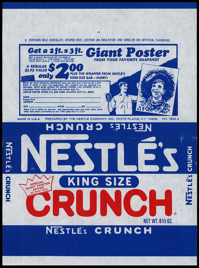 Nestle's - Crunch King Size - Giant Poster offer - chocolate candy bar wrapper - early 1970's