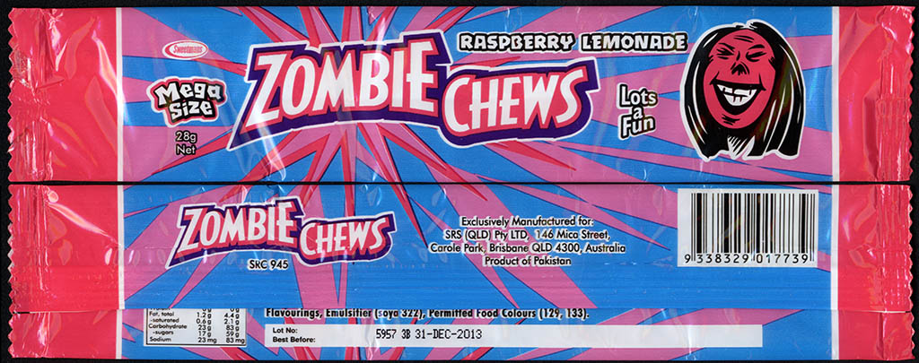 New Zealand - Zombie Chews - Raspberry Lemonade - mega size candy package wrapper - 2012