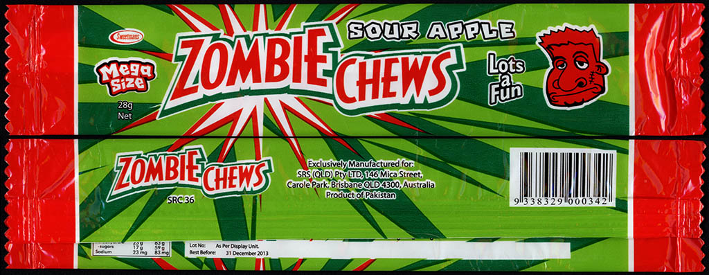 New Zealand - Zombie Chews - Sour Apple - mega size candy package wrapper - 2012