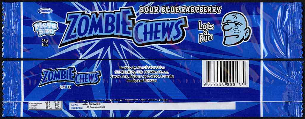 New Zealand - Zombie Chews - Sour Blue Raspberry - mega size candy package wrapper - 2012