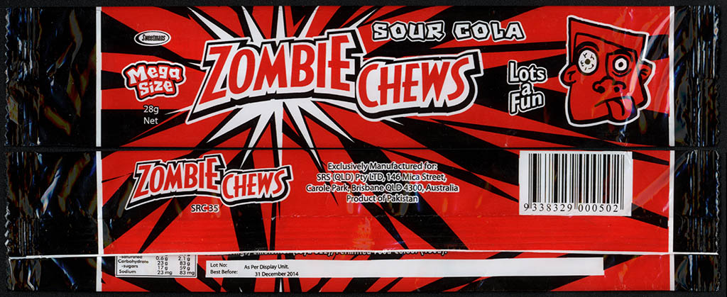 New Zealand - Zombie Chews - Sour Cola - mega size candy package wrapper - 2012