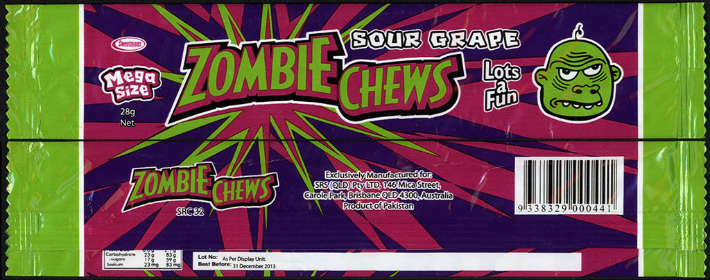 New Zealand - Zombie Chews - Sour Grape - mega size candy package wrapper - 2012