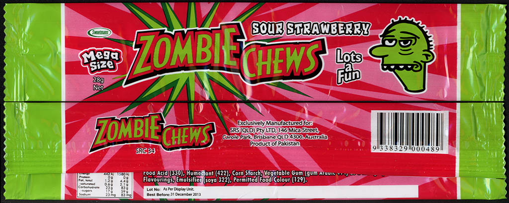 New Zealand - Zombie Chews - Sour Strawberry - mega size candy package wrapper - 2012