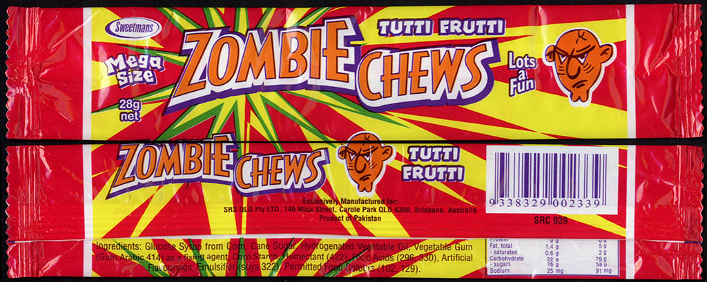 New Zealand - Zombie Chews - Tutti Frutti - mega size candy package wrapper - 2012