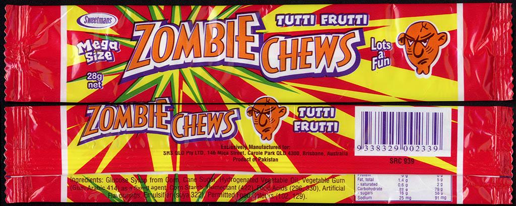 New Zealand - Zombie Chews - Tutti Frutti - mega size candy package wrapper - 2012