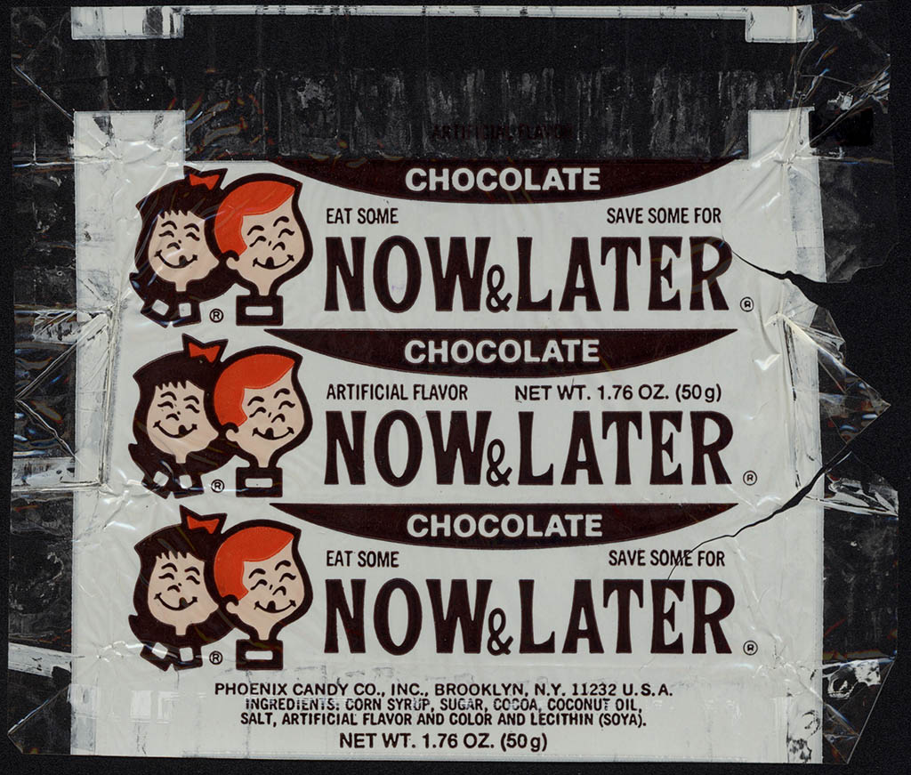 Phoenix Candy Co - Now & Later - Chocolate - cello candy wrapper - 1977