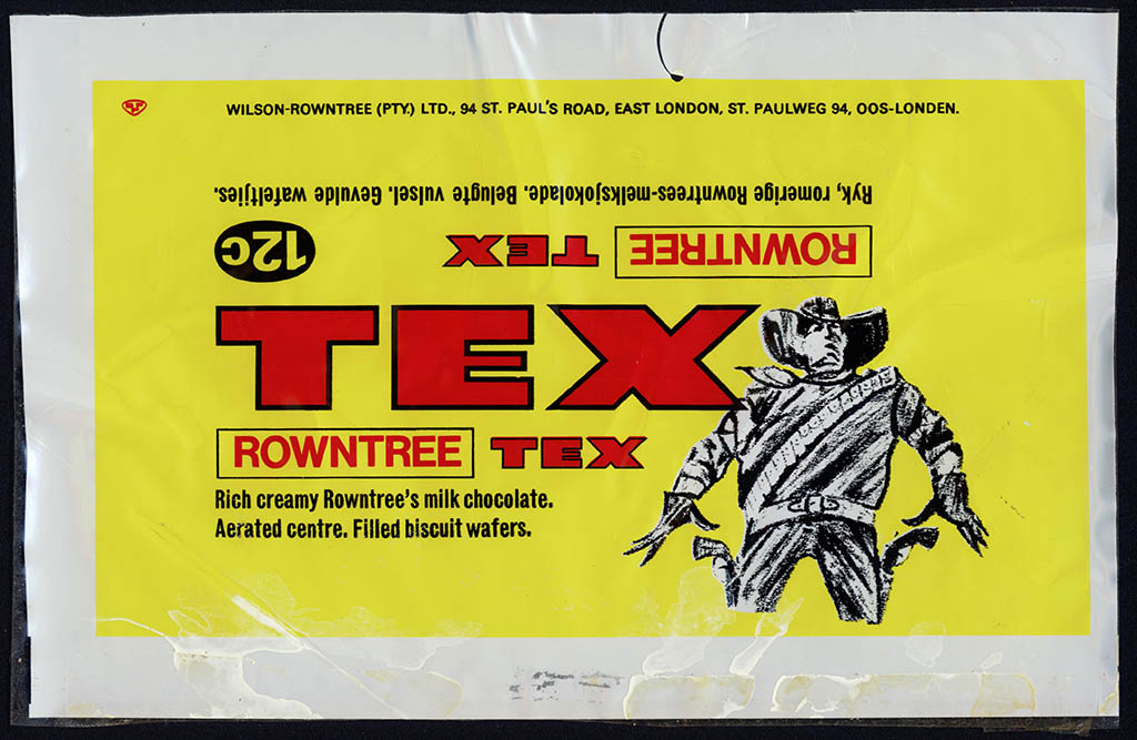 South Africa - Rowntree - TEX - 12-cent chocolate bar candy wrapper - 1970's 1980's