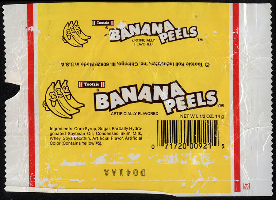 Tootsie - Banana Peels - candy wrapper - circa 1985-1993