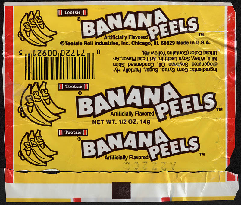 Tootsie - Banana Peels roll candy wrapper - 1980's 1990's