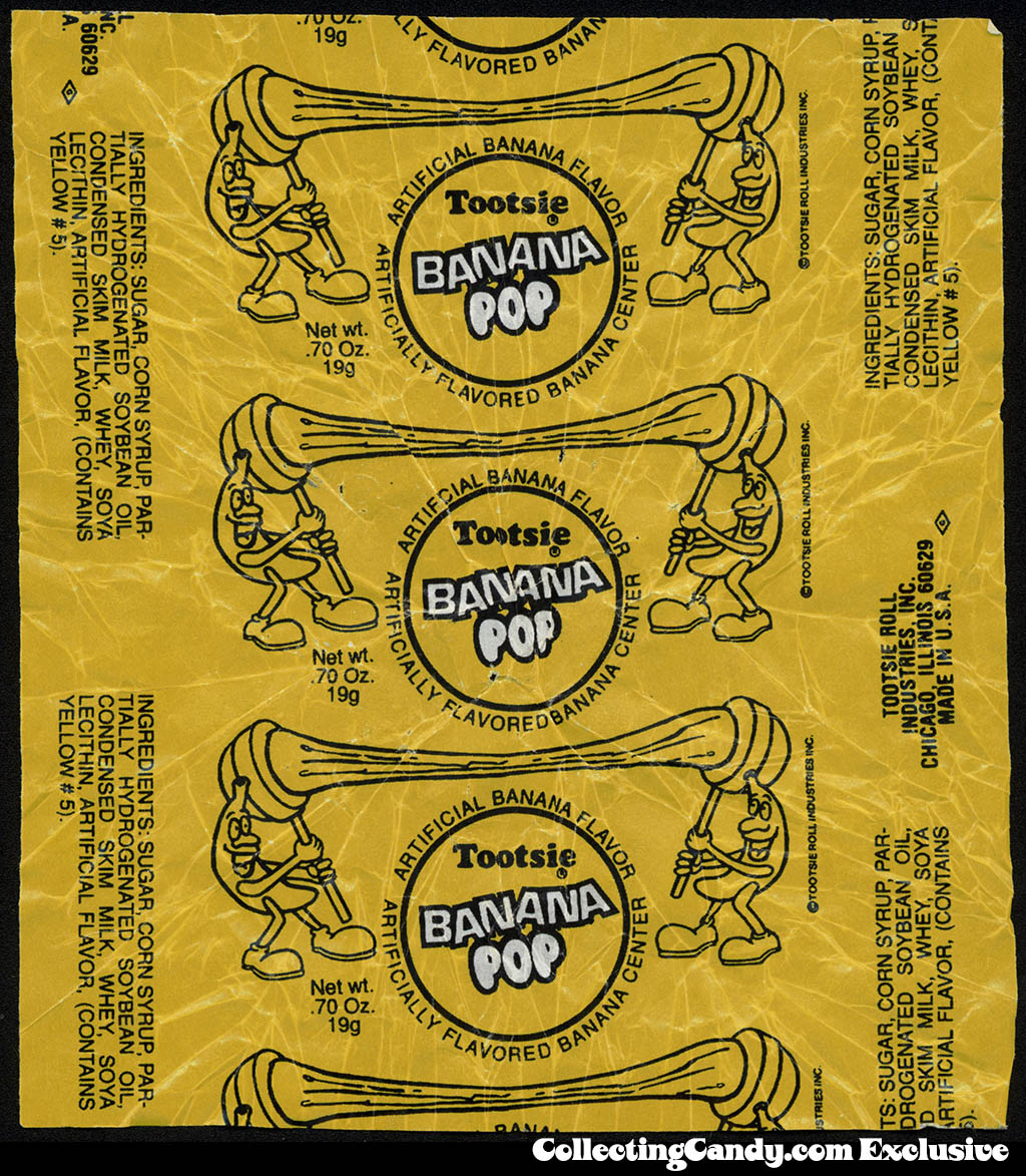 Tootsie - Banana Pop - candy wrapper - 1980's-1990's