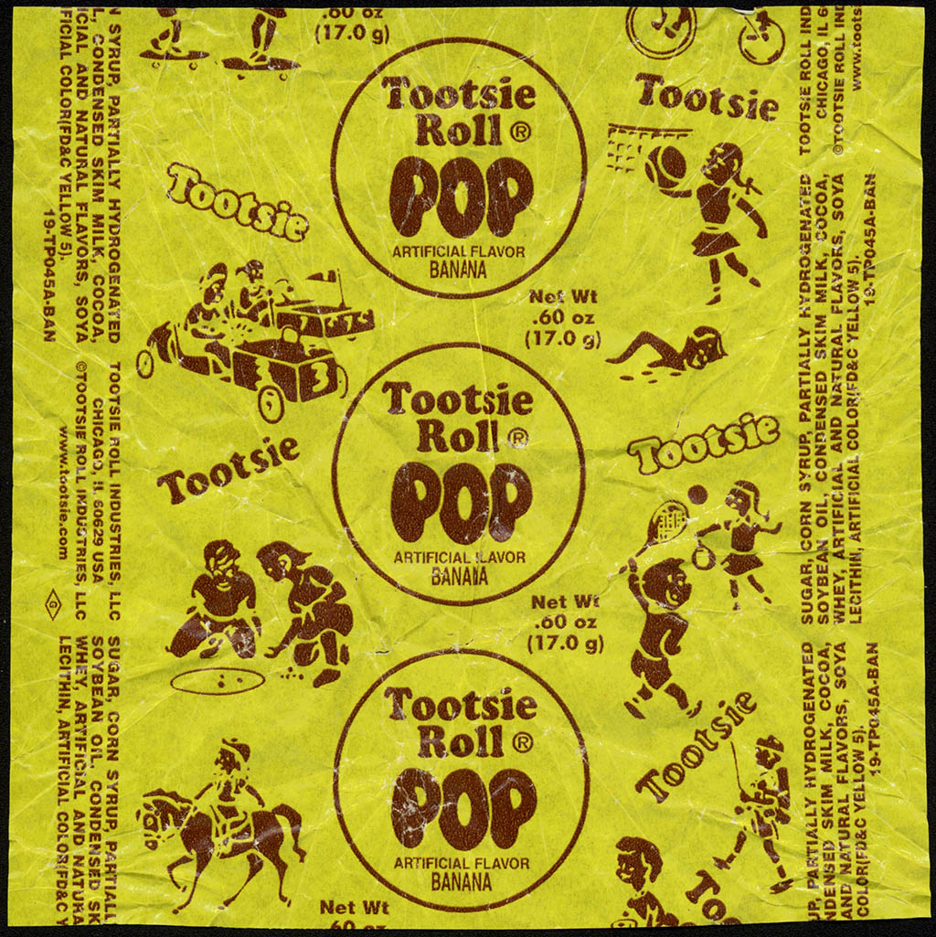 Tootsie - Tootsie Roll Pop - Banana - candy lolipop wrapper - 2011