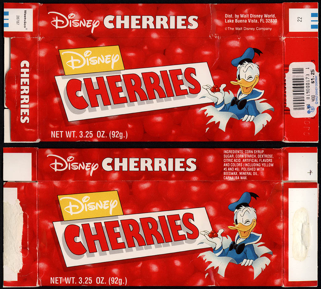 Walt Disney World - Disney Cherries - feat Donald Duck - souvenir candy box - 1990