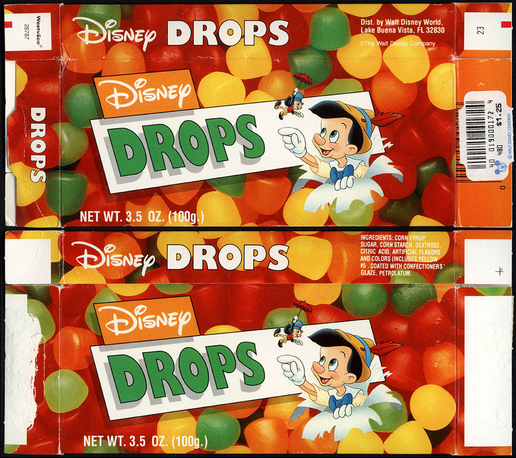Walt Disney World - Disney Drops - feat Pinocchio - souvenir candy box - 1990