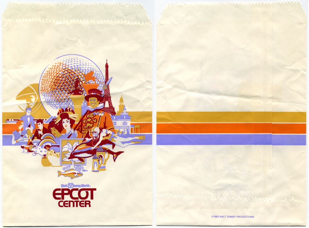 Walt Disney World - Epcot Center - Orlando, Florida - souvenir bag - 1982