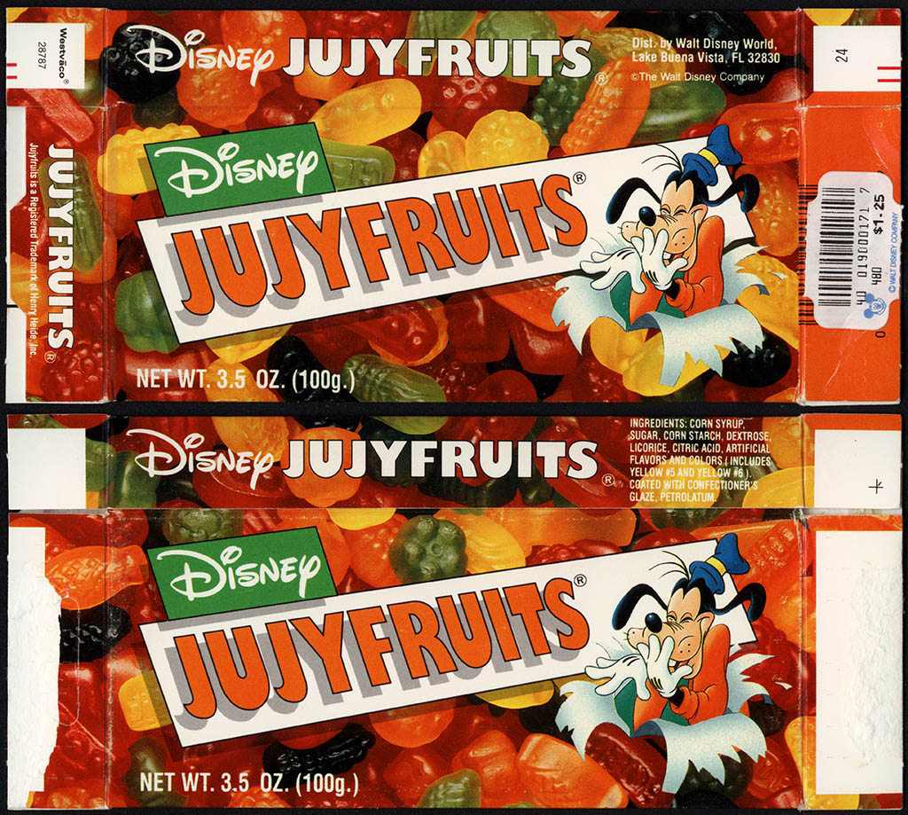 Walt Disney World - Heide Inc - Disney Jujyfruits - feat Goofy - souvenir candy box - 1990