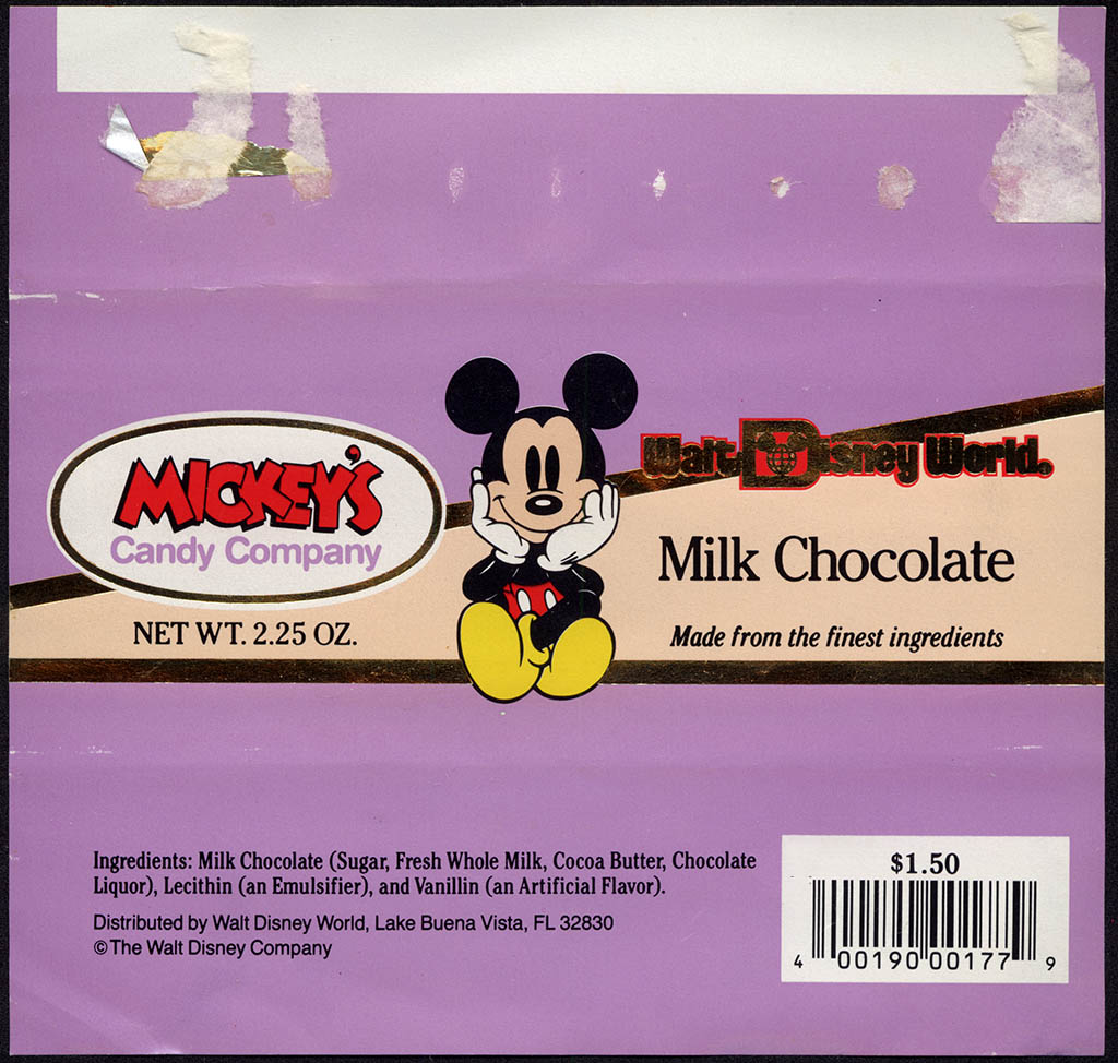 Walt Disney World - Mickey's Candy Company - Milk Chocolate - souvenir chocolate candy bar wrapper - 1993