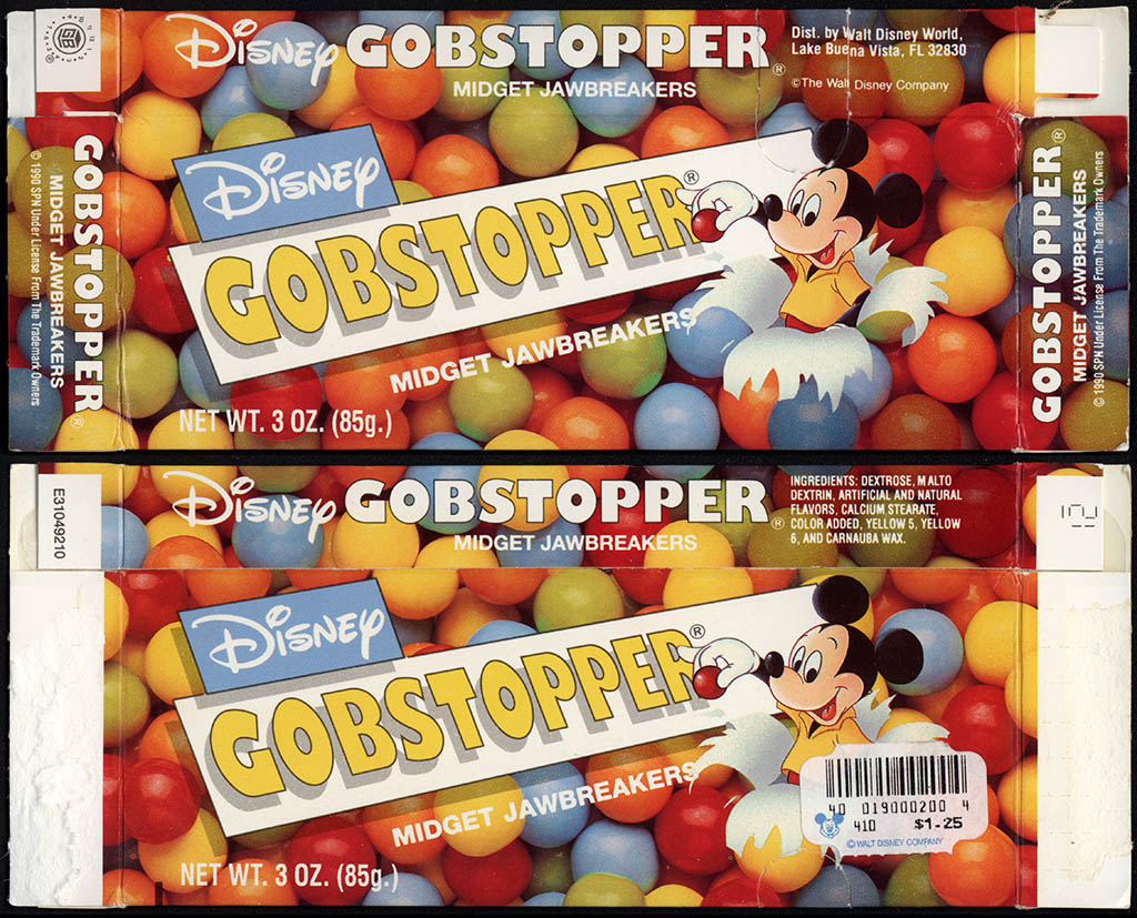 Walt Disney World - Wonka-SPN - Disney Gobstoppers - feat Mickey Mouse - souvenir candy box - 1990