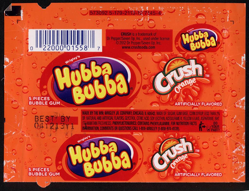 Wrigley - Hubba Bubba - Orange Crush - bubble gum wrapper - January 2013