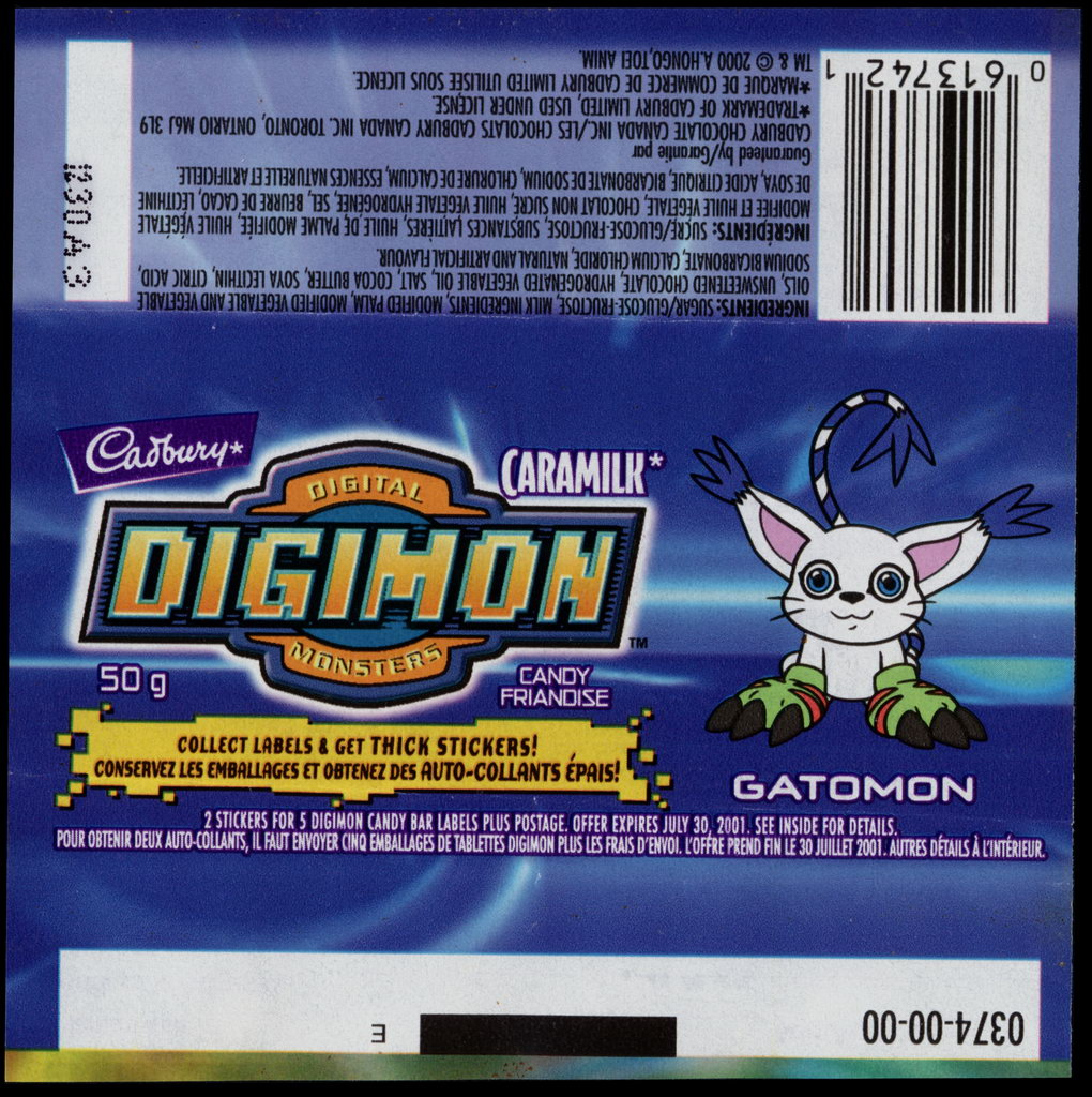 Canada - Cadbury Caramilk - Digimon - Gatomon - chocolate candy wrapper - 2000