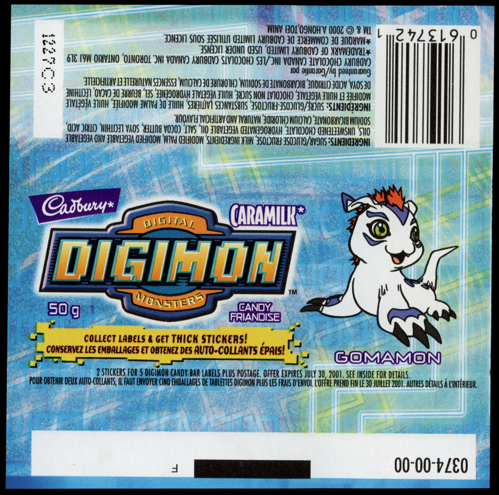 Canada - Cadbury Caramilk - Digimon - Gomamon - chocolate candy wrapper - 2000