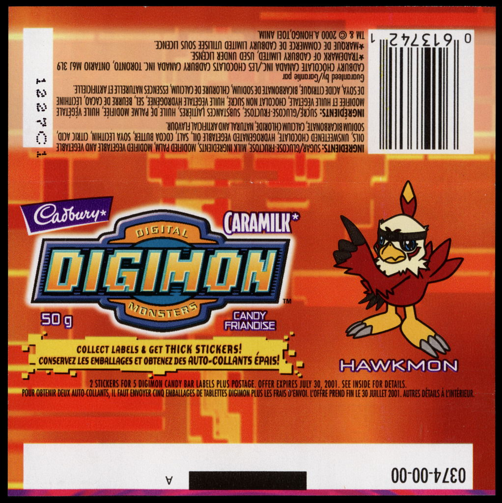 Canada - Cadbury Caramilk - Digimon - Hawkmon - chocolate candy wrapper - 2000