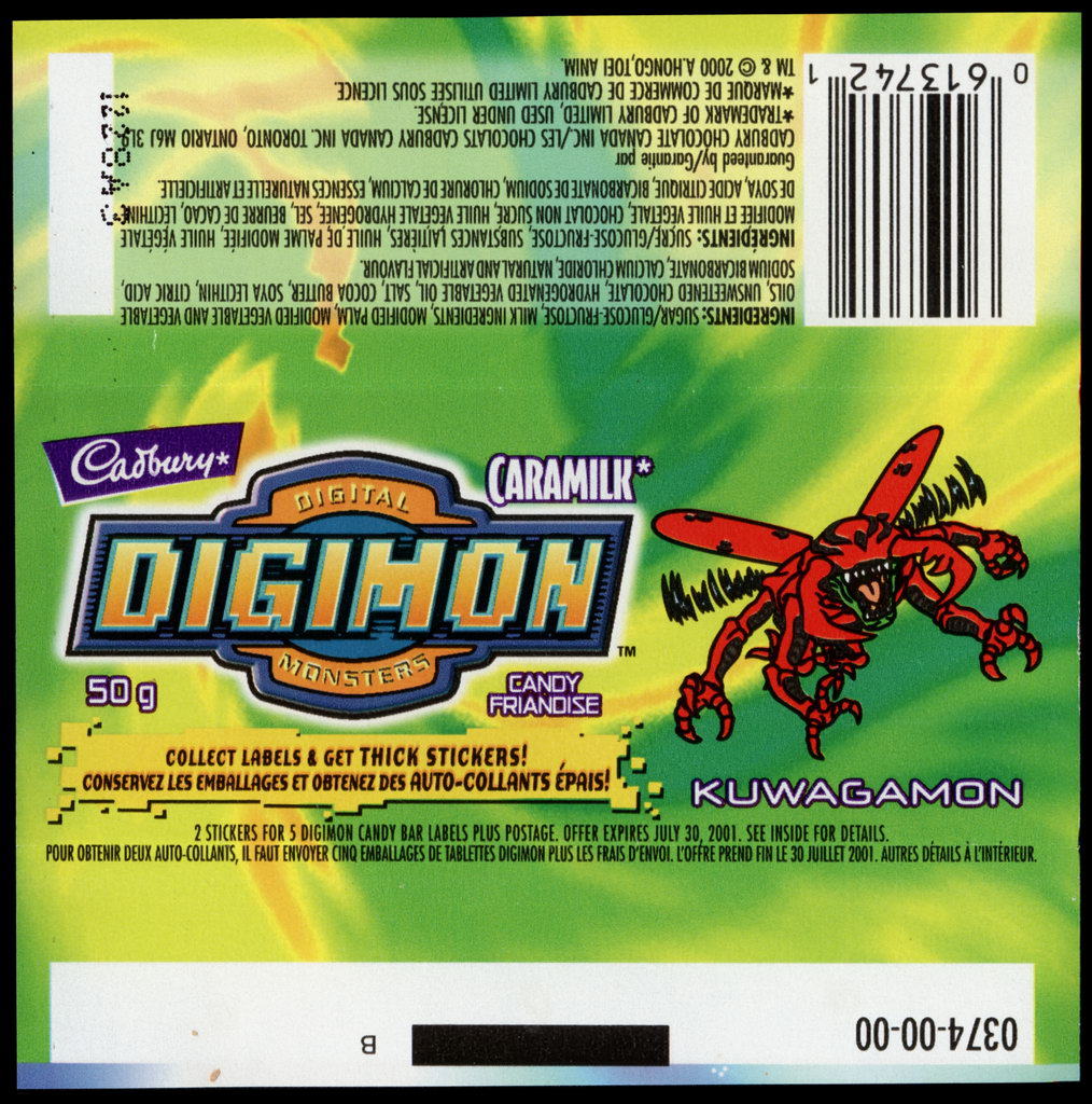 Canada - Cadbury Caramilk - Digimon - Kuwagamon - chocolate candy wrapper - 2000