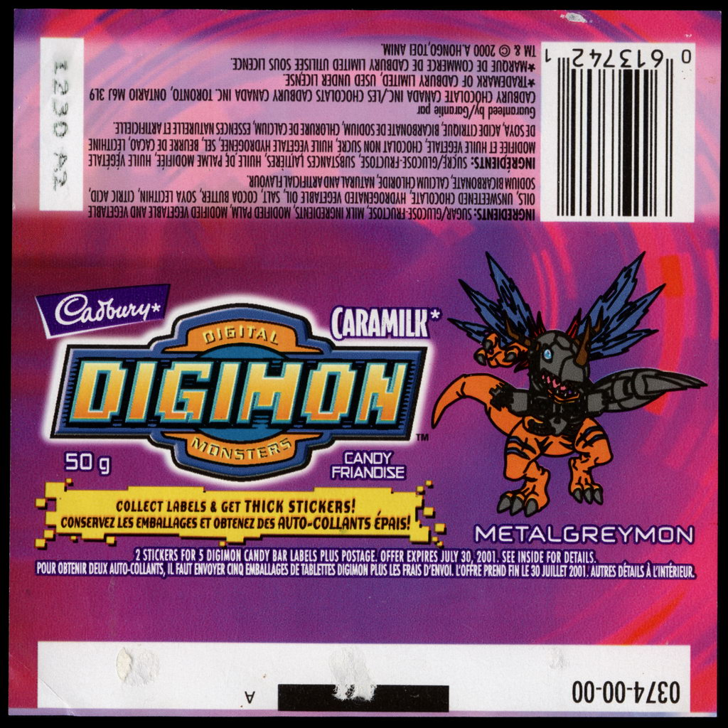 Canada - Cadbury Caramilk - Digimon - Metalgreymon - chocolate candy wrapper - 2000