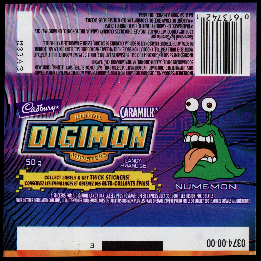 Canada - Cadbury Caramilk - Digimon - Numemon - chocolate candy wrapper - 2000