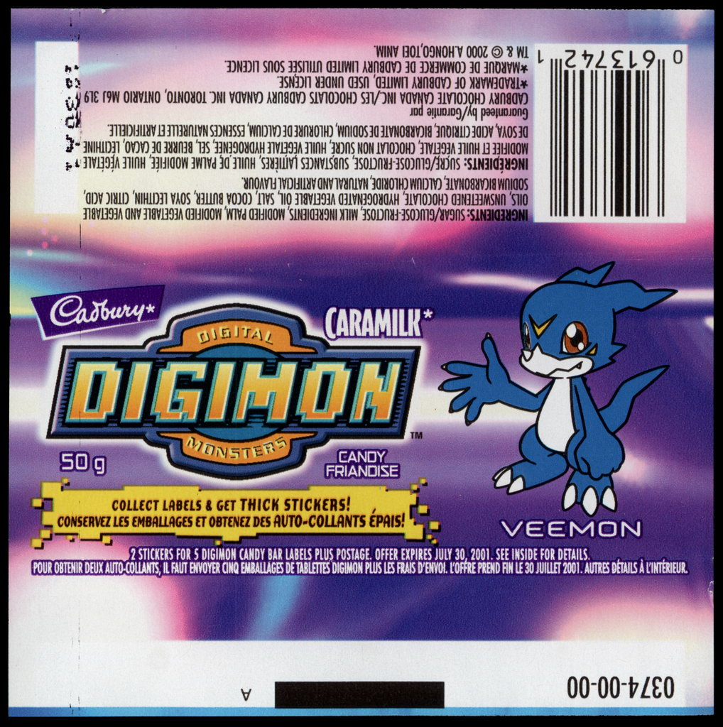 Canada - Cadbury Caramilk - Digimon - Veemon - chocolate candy wrapper - 2000