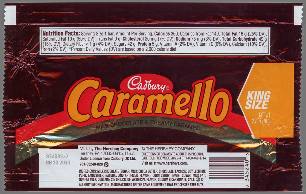 Hershey - Cadbury Caramello - King Size - candy package wrapper - 2012