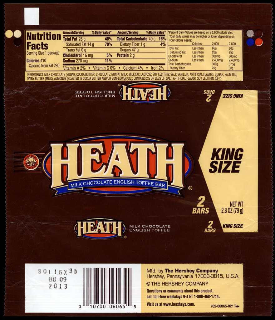 Hershey - Heath - King Size - candy package wrapper - 2012