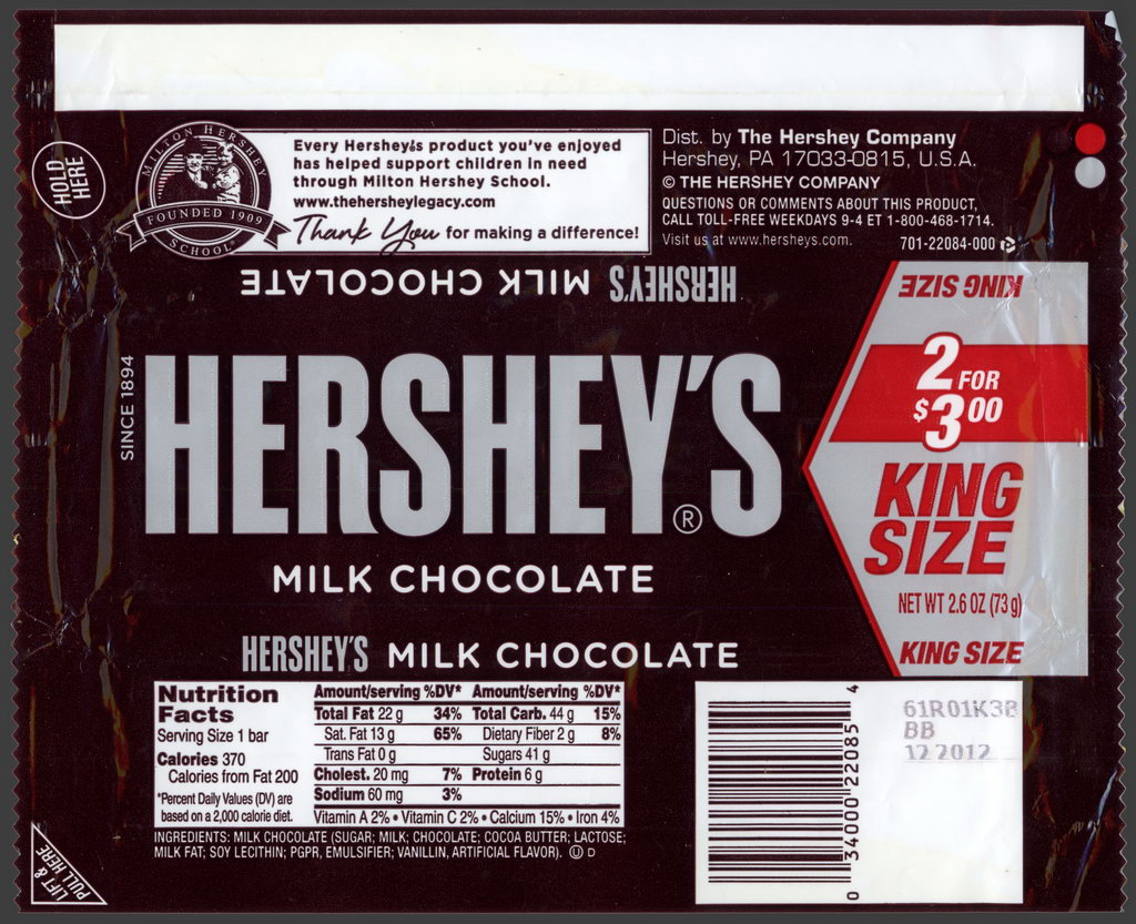 Hershey - Hershey's Milk Chocolate - 2 for 3-dollars King Size - candy package wrapper - 2012