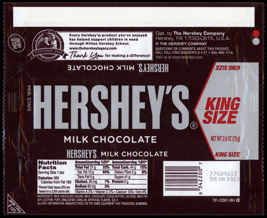Hershey - Hershey's Milk Chocolate - King Size - candy package wrapper - 2012